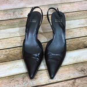 Stuart Weitzman Black Leather Slingback Pumps 8.5